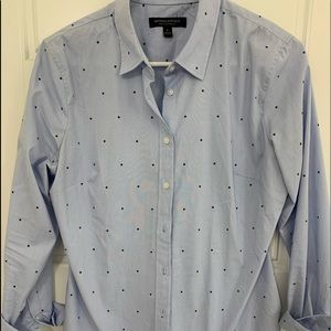 Banana light blue button down with navy stars